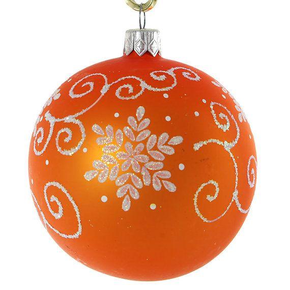 Twirl Glass Christmas Ball Ornament Orange by ...