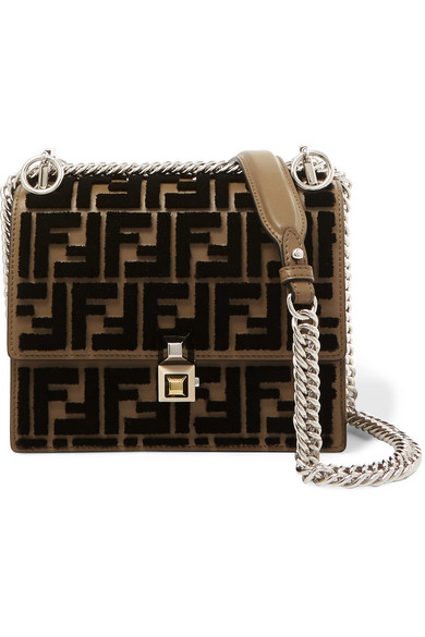 1299c376 Fendi - Kan I small flocked leather shoulder bag | Wants & Needs ...