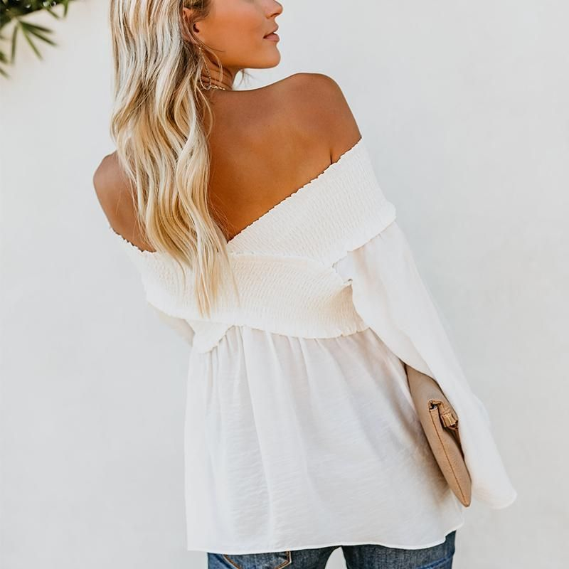 6d4810166d8 Elastic Off Shoulder Long Flare Sleeve Plain Pleated Loose T-Shirts White m