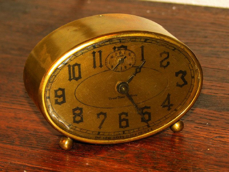 Vintage Oval Brass Wind Up Alarm Clock. By New Haven Clock Co. C. 1940's..
