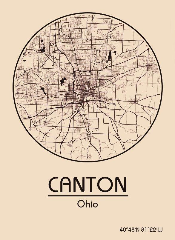 Karte Map Canton Ohio Vereinigte Staaten Von Amerika United