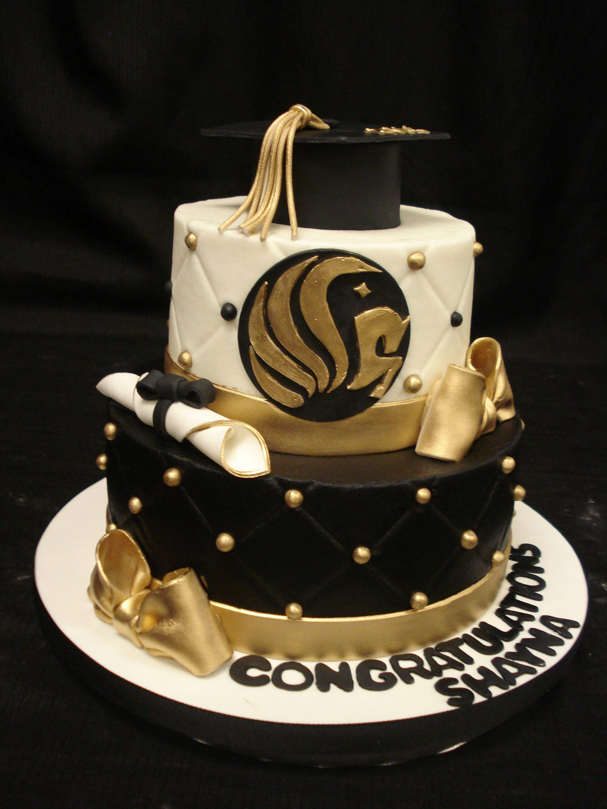 Ucf Graduation Quilted Cake With Black Buttercream And