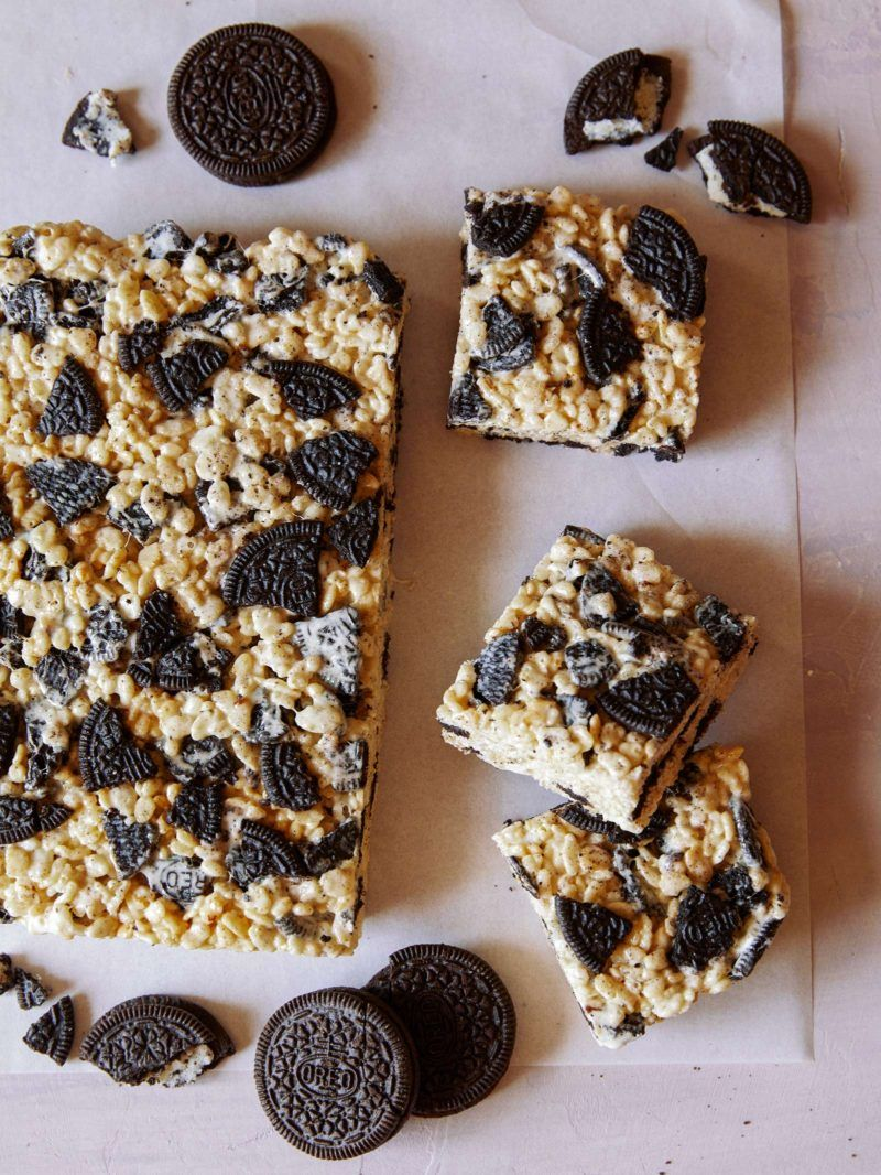 Cookies and Cream Rice Krispies Treats   Recipe   Creamed ...