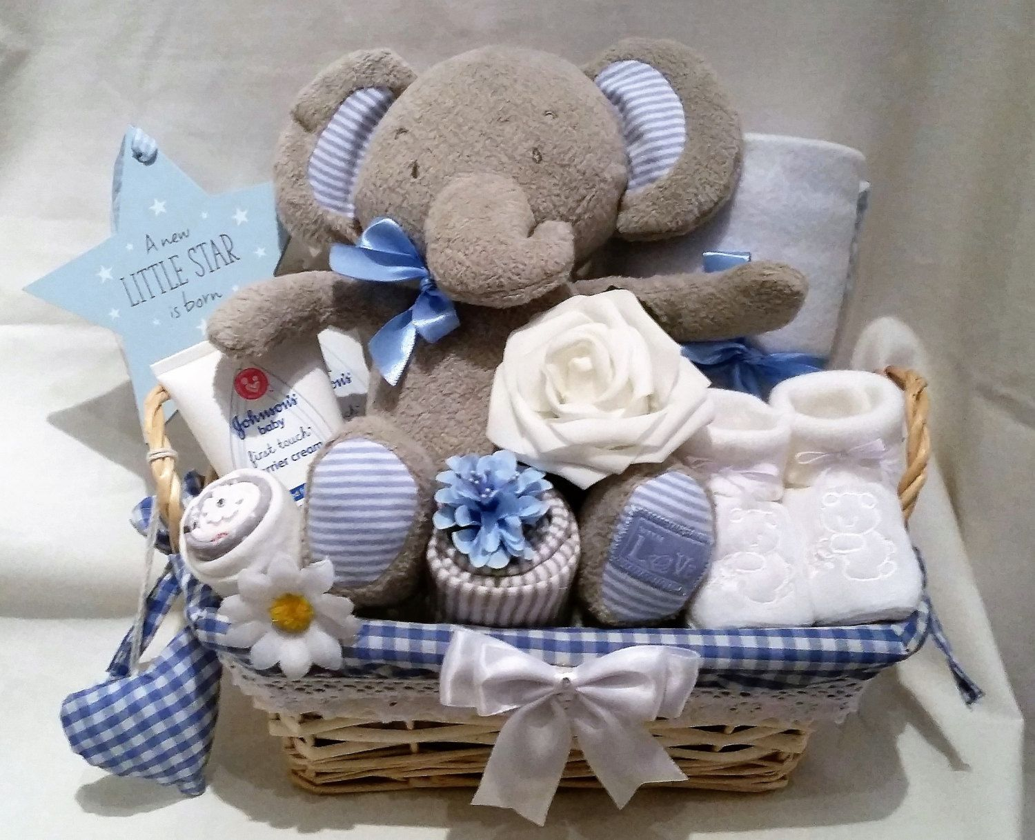 Neutral baby clothessock bouquet baby shower new baby gift deluxe baby boys ms elephant gift basket baby showernew baby gift negle Images