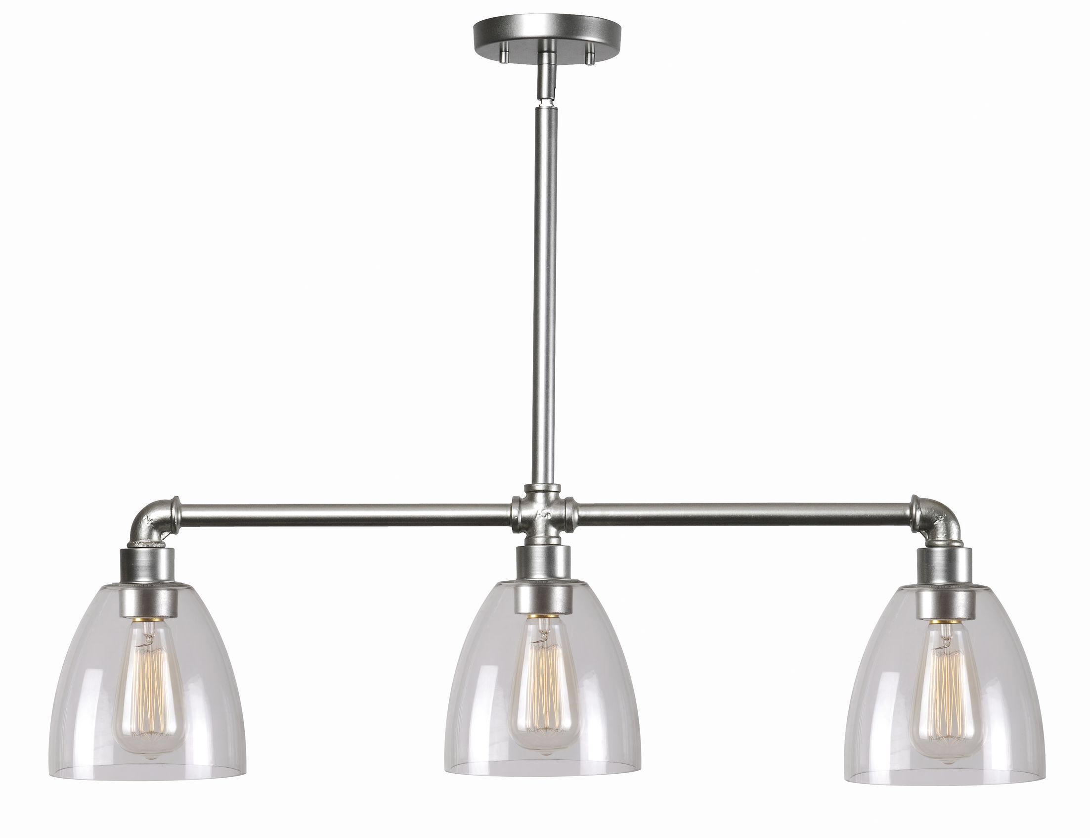 Industrial fitter light kitchen island pendant in the kitchen