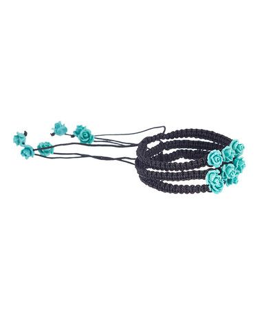 Loving this Black & Turquoise Beaded Rose Bracelet - Set of Three on #zulily! #zulilyfinds #jewelry #jewelrysale #giftidea #sale #gift #fashion #fashionjewelry #pavcusdesigns #pavcus #womensfashion #womensjewelry #bling #jewelryset #coral #turquoise #springfashion #bracelet