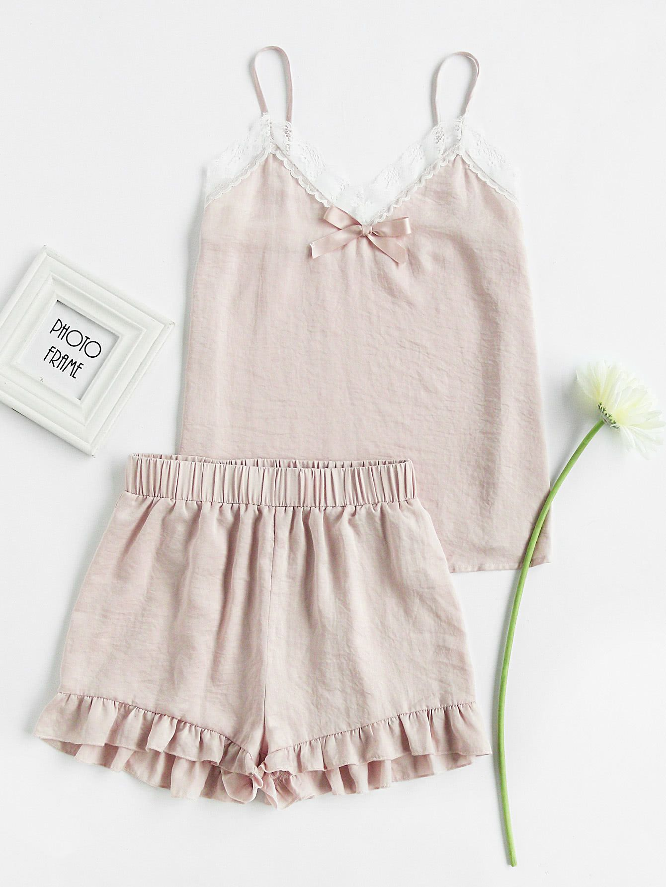 c4c921393e9 Shop Lace Trim Bow Detail Cami And Ruffle Shorts Pajama Set online. SheIn  offers Lace Trim Bow Detail Cami And Ruffle Shorts Pajama Set   more to fit  your ...