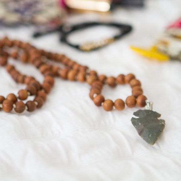 This mala necklace is lovingly handcrafted, knot-by-knot, near the banks of the Holy Ganga River. #shopmalena malena.com