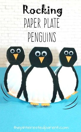 Rocking Paper Plate Penguins with printable template look like - penguin template
