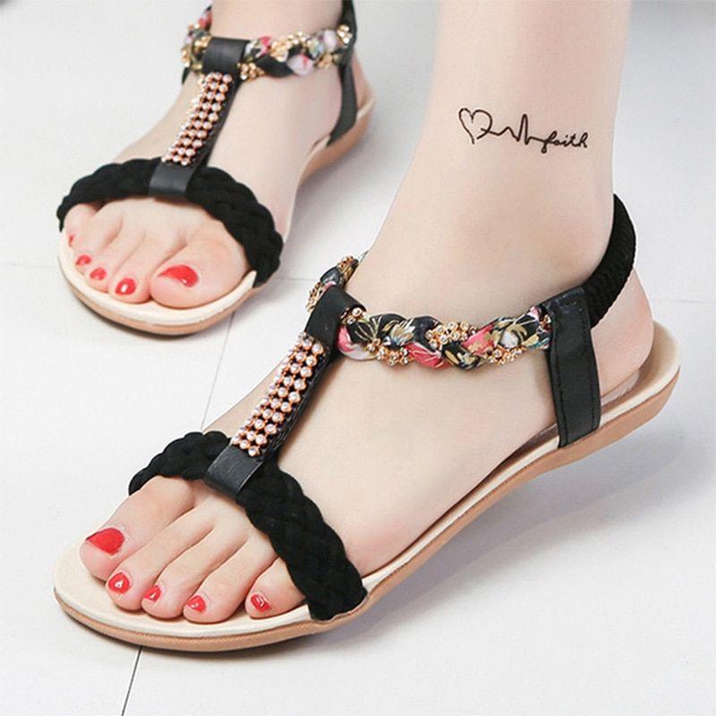 ff646163c623b9 Women Sandals Flats Beach Sandals Fashion Bohemia Open Toes Rhinestone  Summer Sandals Women Shoes
