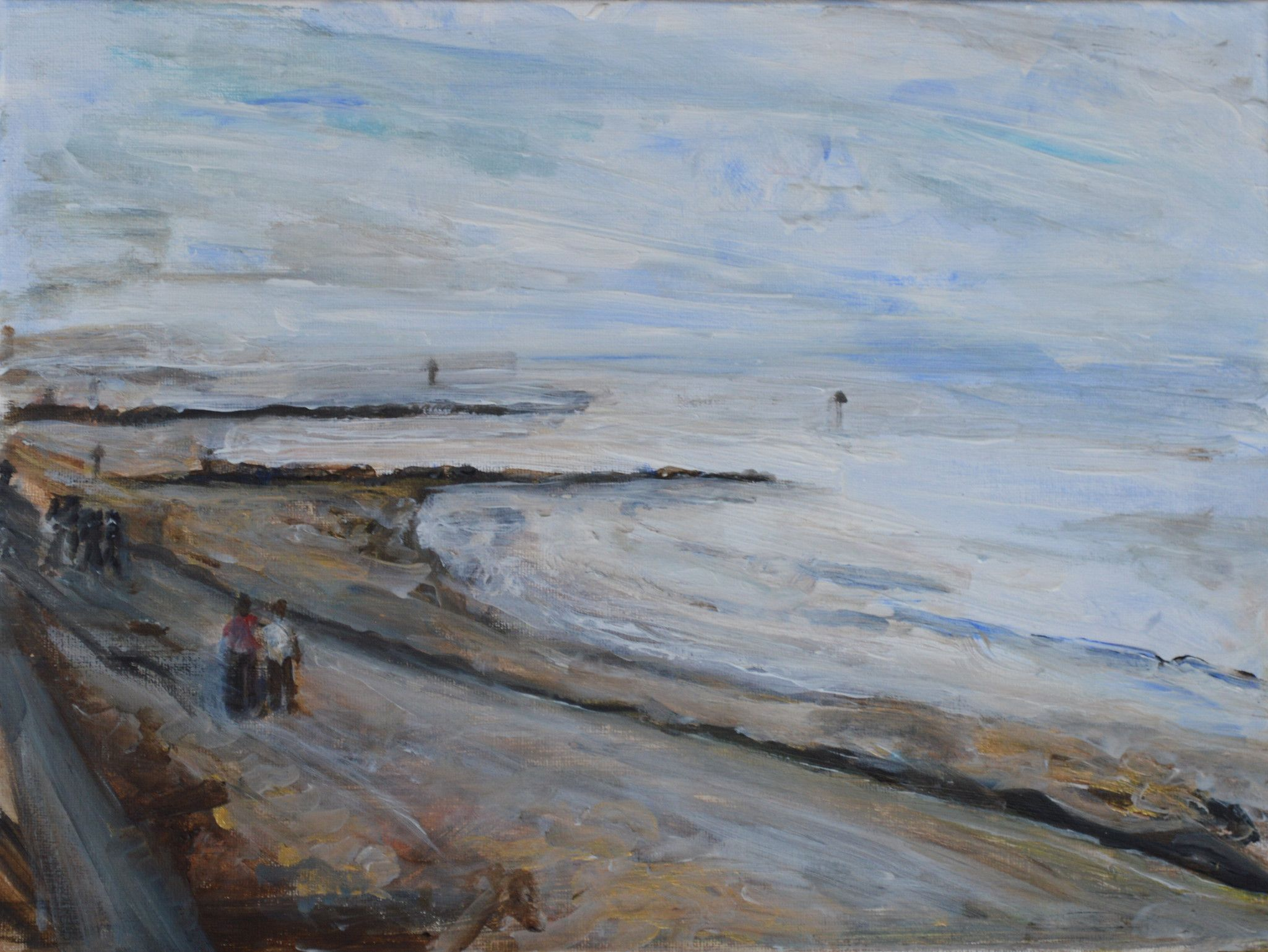 """PRESTATYN EVENING, original painting 12"""" X 16"""" by Ali Jackson, CURVES, original painting 20"""" X 24"""" by Ali Jackson, captures the simplicity, charm and character of ordinary events, people and places that relate to Ali's home in Wales."""