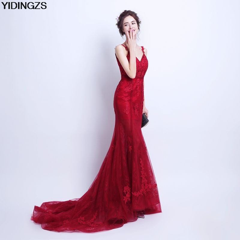 130 - Nice YIDINGZS Robe De Soiree Mermaid Wine Red Evening Dress Straps  Party Elegant Vestido De Festa Long Prom Gown 2017 - Buy it Now! e9021c4275b8