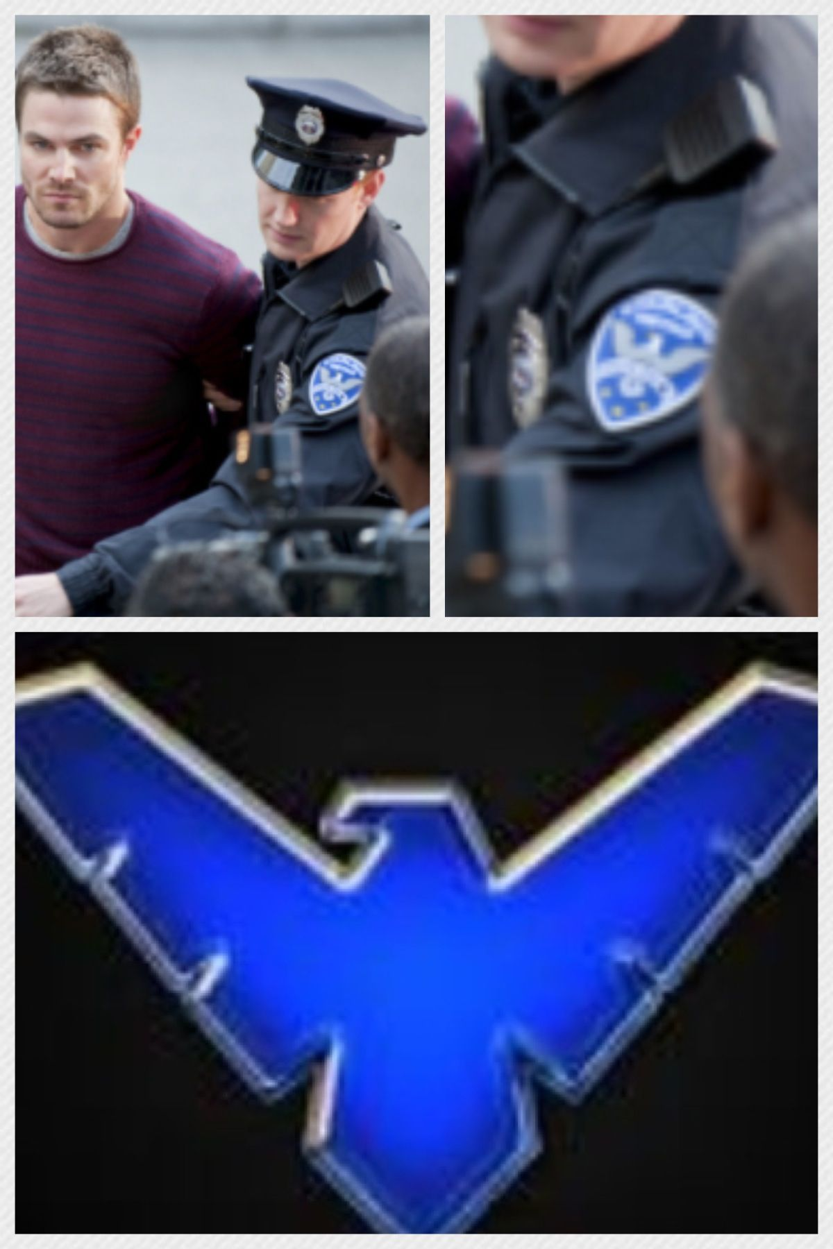 IS IT TRUE!?!? A nightwing logo on a policemans uniform in Arrow