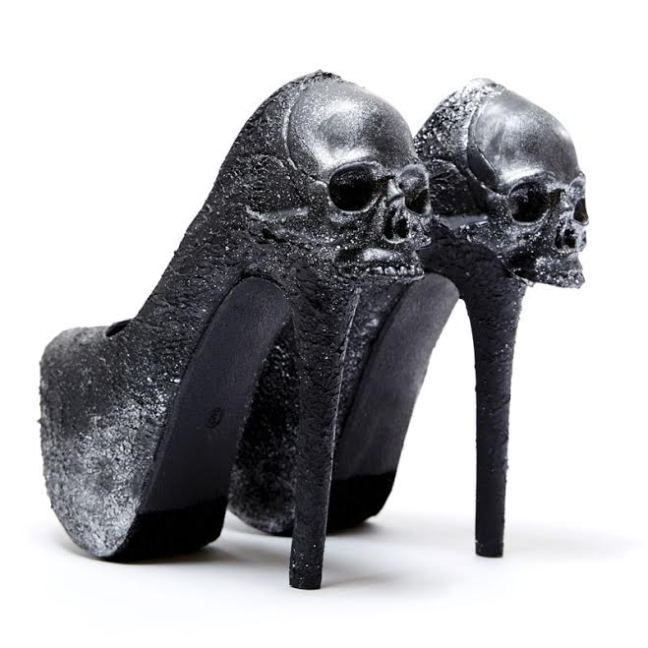 4ee2a9bf28c Skull heels - midnight black encrusted high heel shoes with onyx skulls at  the back - zombie peep show shoes