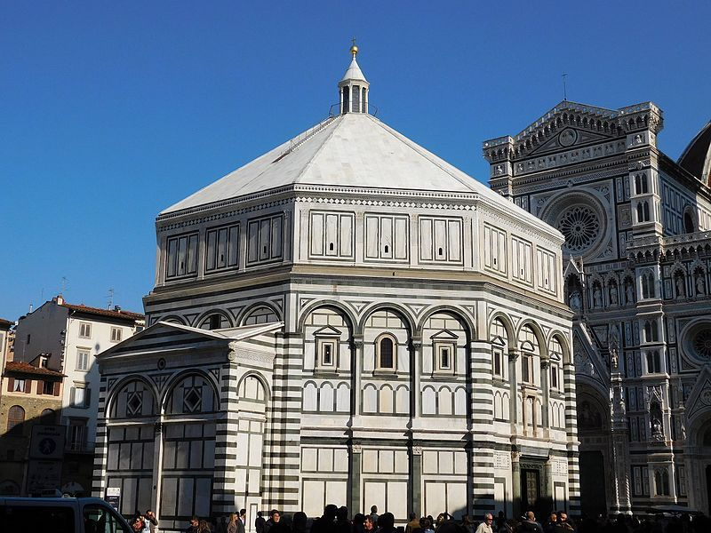 """Baptistery of St. John next to the Florence Cathedral ~ The Cattedrale di Santa Maria del Fiore [in English """"Cathedral of Saint Mary of the Flower""""] the main church of Florence, Ital ~ Source Own work, Author Fczarnowski"""