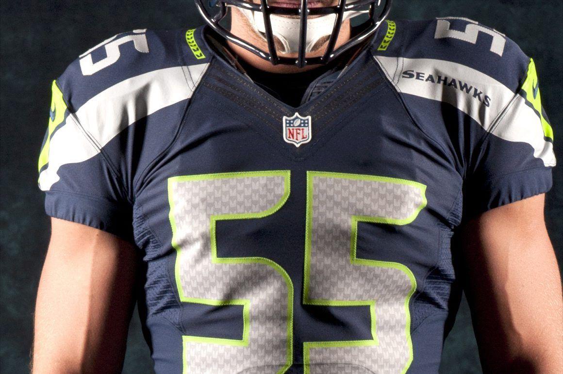 best sneakers d4b6e 38da9 Closeup of the new Seattle Seahawks jersey design. (Rod Mar ...