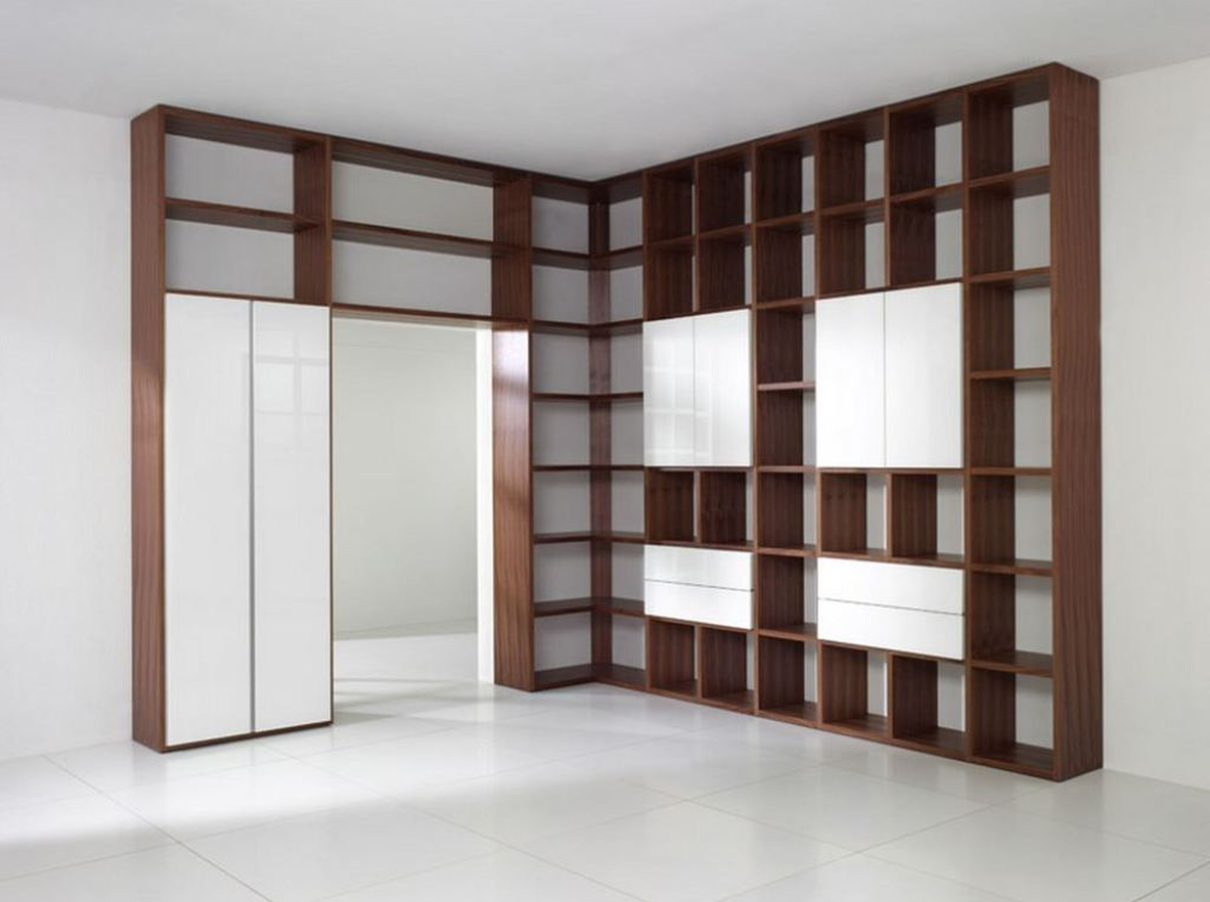 Astounding White Wooden Library Shelves bined With Brown Ladder