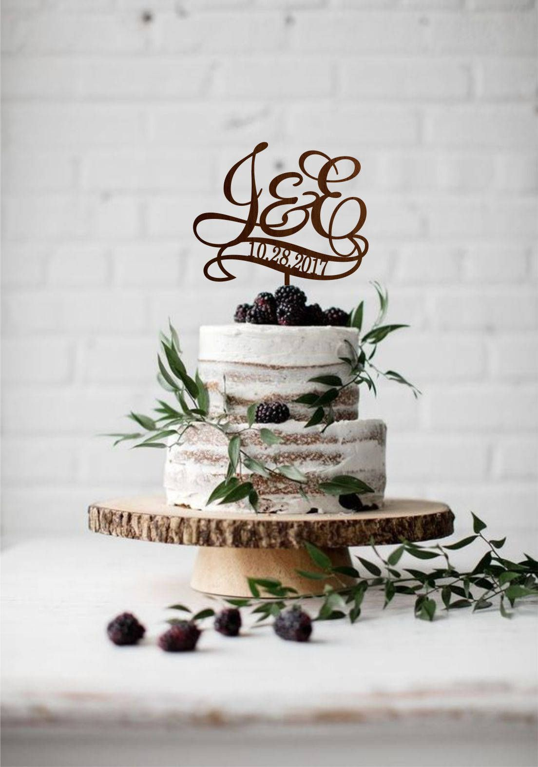 Two letters with date wedding cake topper, Two initial cake topper ...