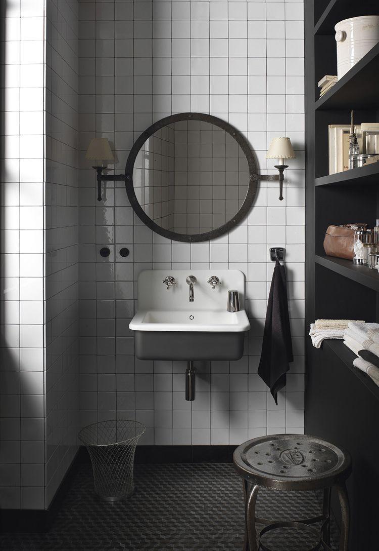 Design Handwaschbecken Badezimmer Industrial Stil Weiss Schwarz