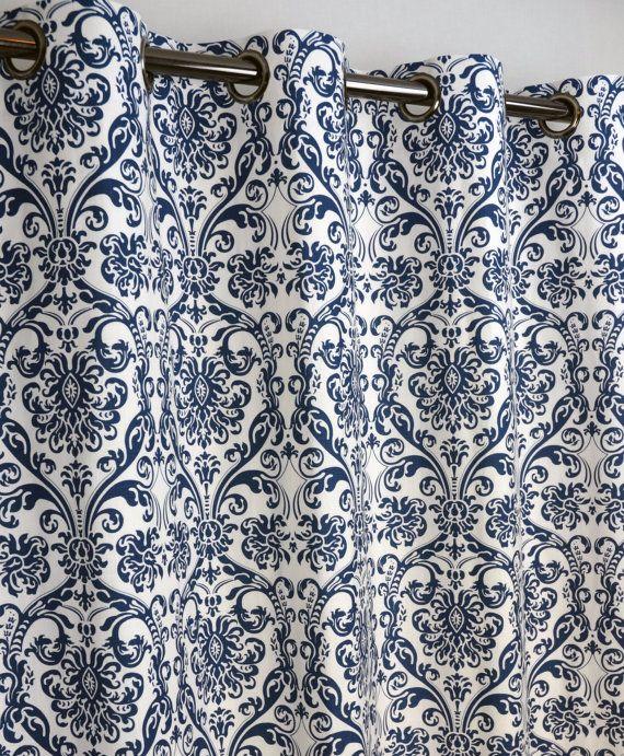 Navy Blue White Abigail Damask Curtains Grommet 84 By Zeldabelle Damask Curtains Curtains Grommet Curtains