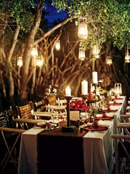 Intimate Lantern Lit Reception Decor