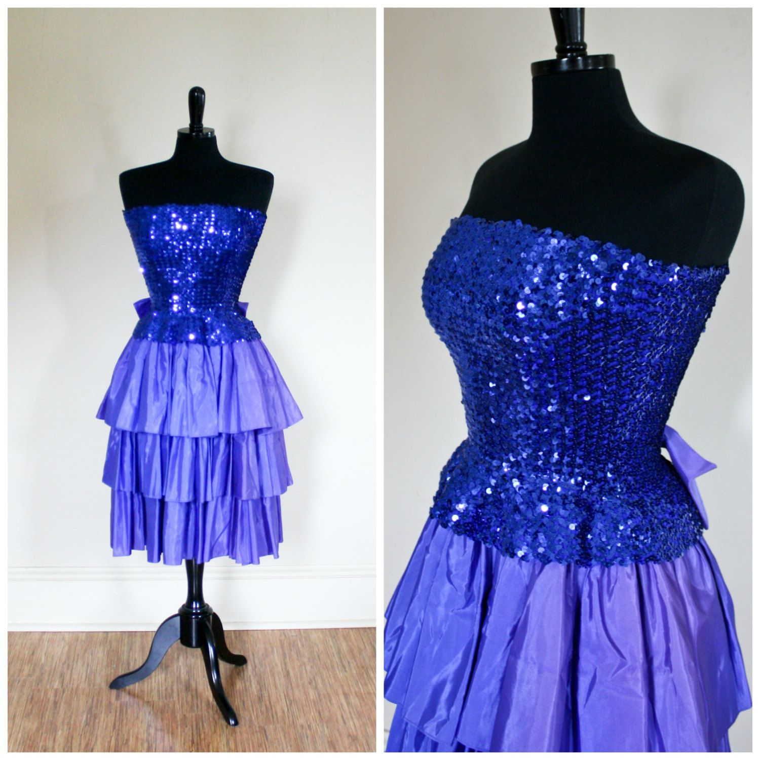 Vintage s blue sequin and ruffles prom dress strapless
