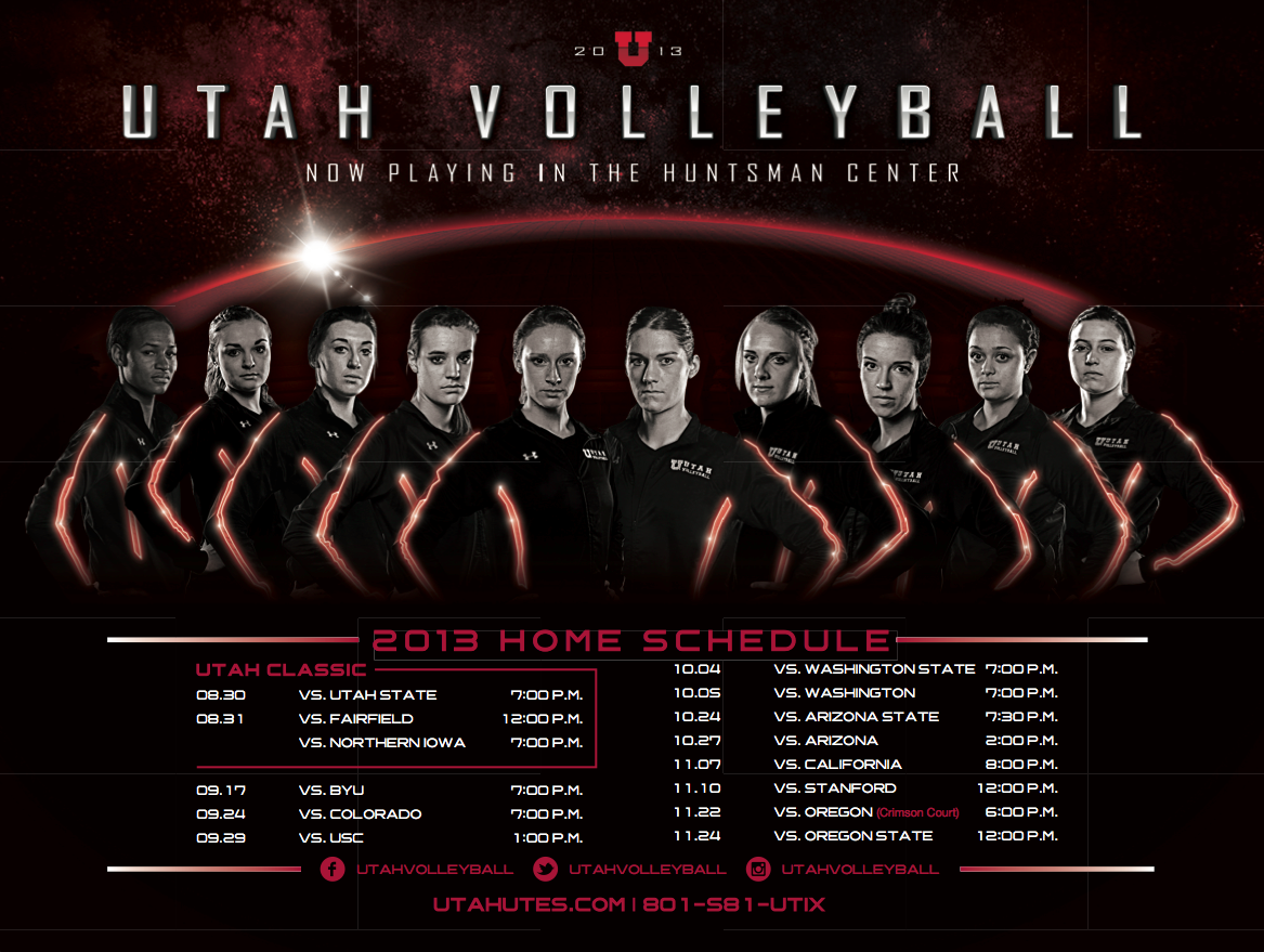 Utah 2013 Volleyball Poster Volleyball Team Pictures Volleyball Practice School Sports Posters