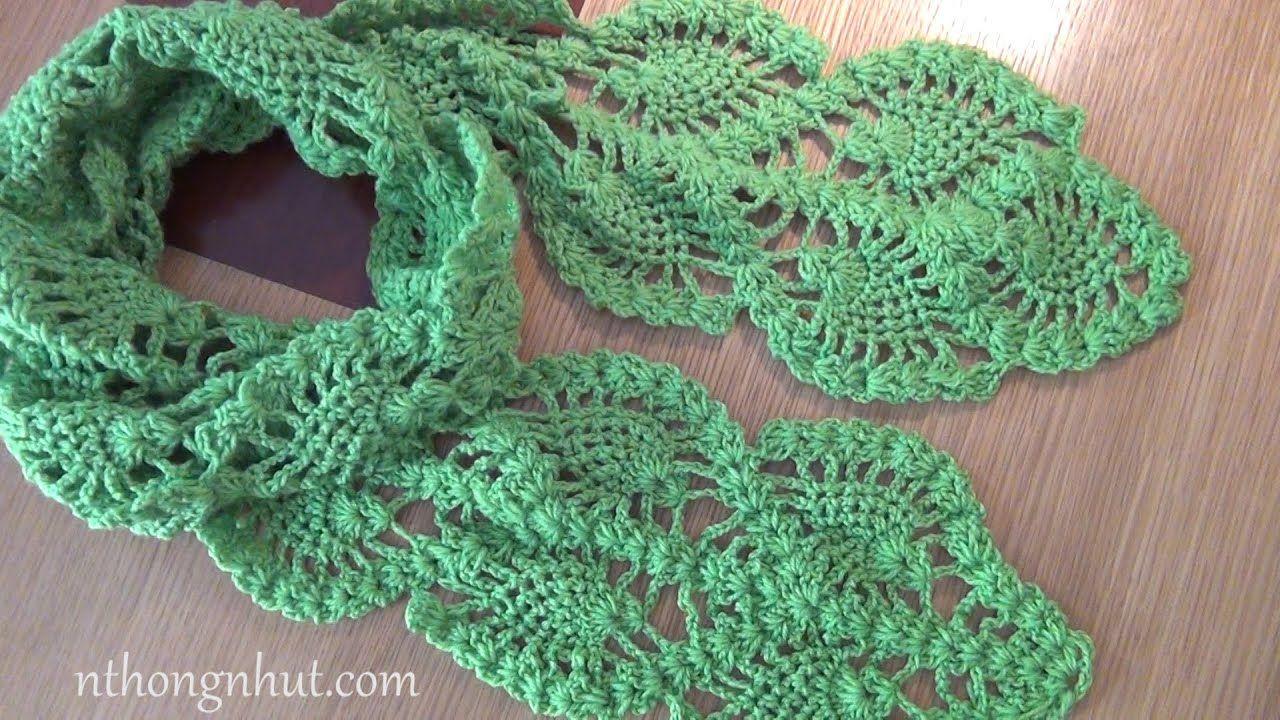 How to Crochet scarf tutorial (Engsub) I Móc khăn len hoa