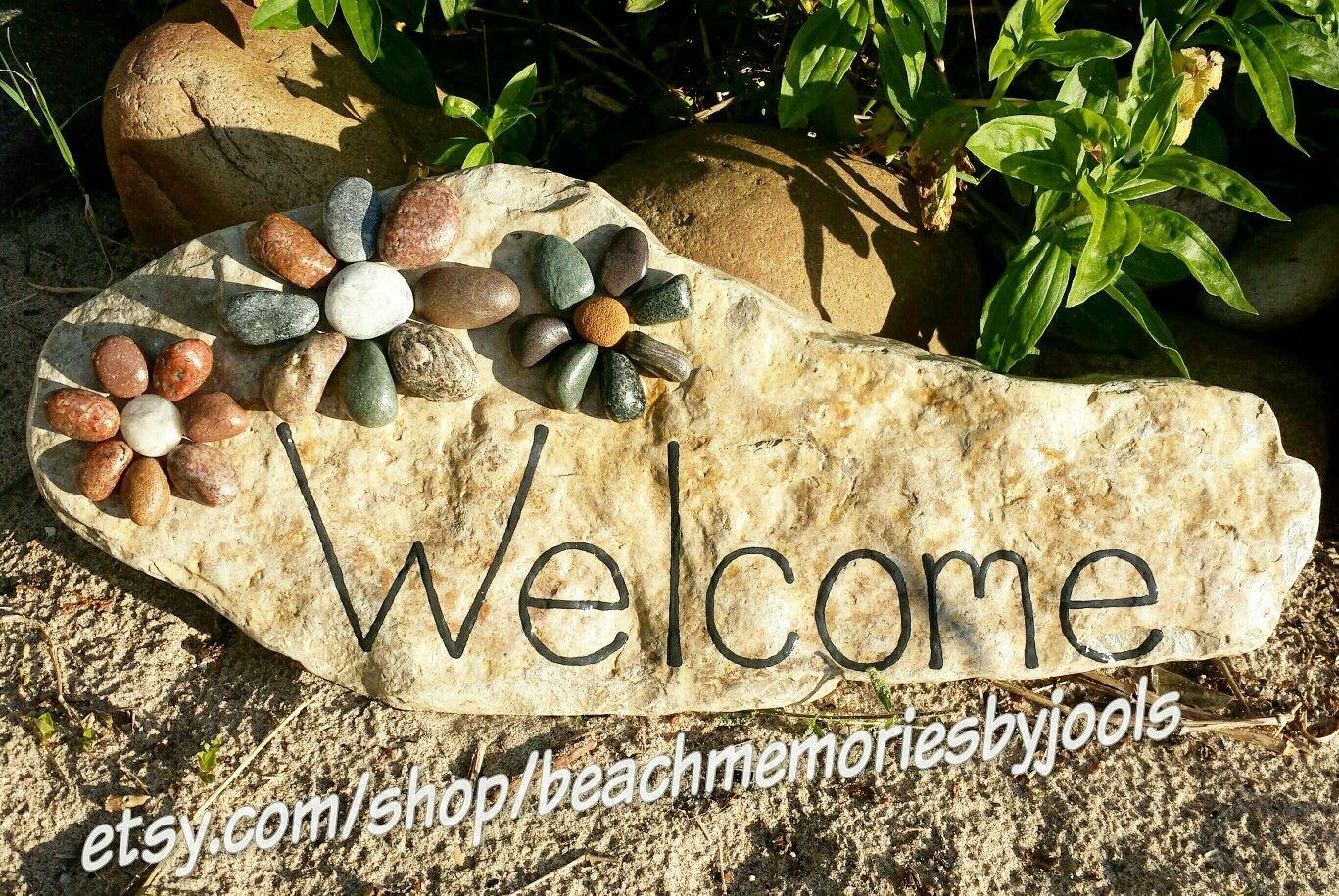 Painted Stones Painted Rocks Welcome Sign Garden Art Garden Decor Beach Theme Beach Art Beach Decor Pebble A Garden Rock Art Pebble Art Garden Art Diy
