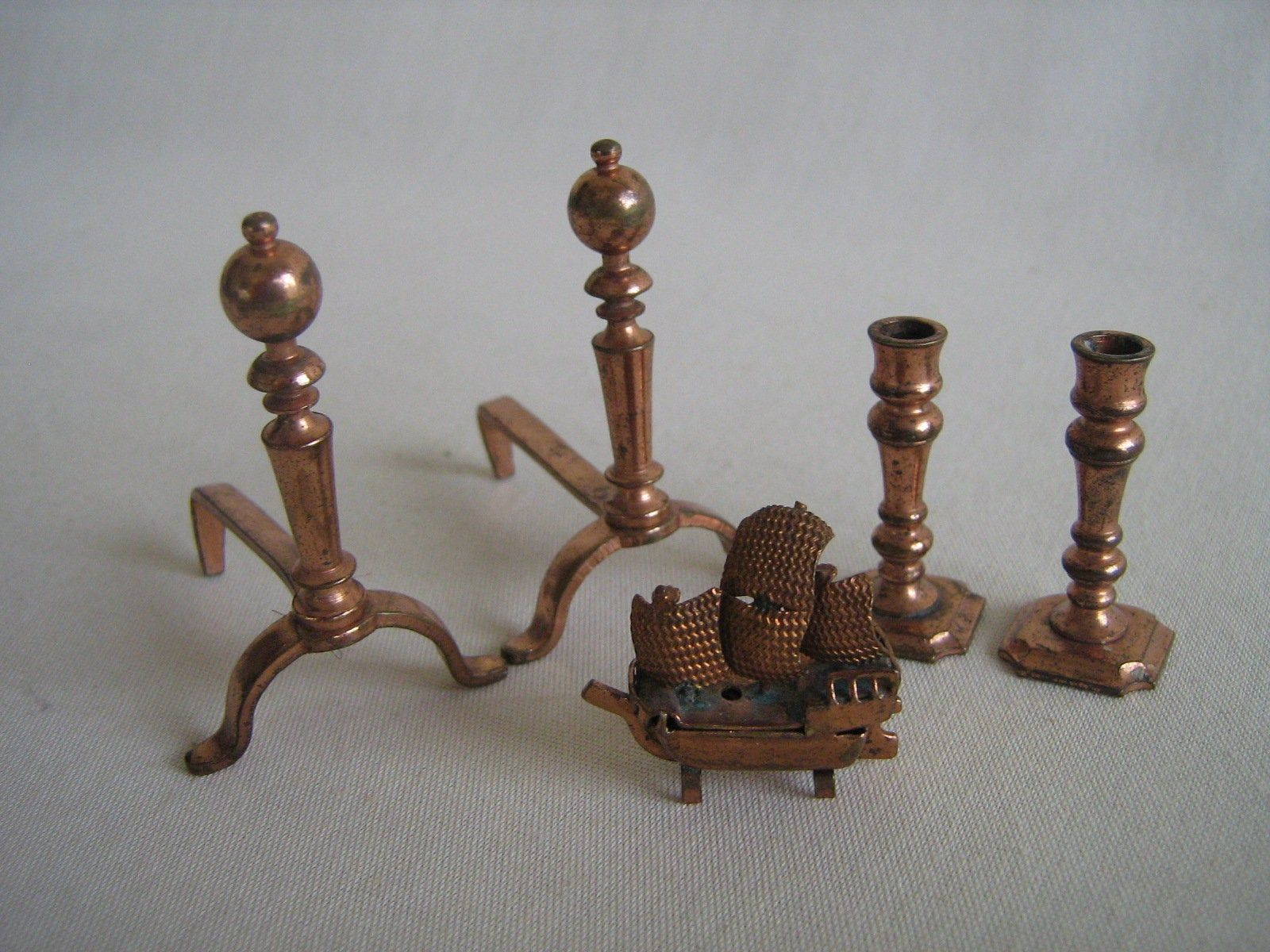 Vintage Collection of TYNIETOY Copper Dollhouse Accessories- Andirons, Candlesticks, Sailboat - 1:12 Scale #dollhouseaccessories