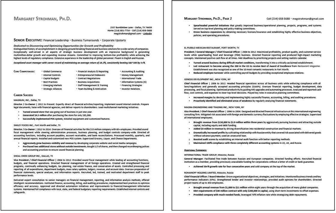 CEO Resume Sample 1 page 1 Resume