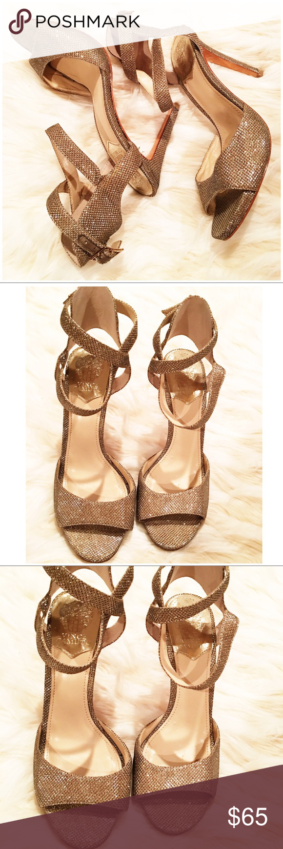 Vince Camuto faunora winter gold sparkle heels Gold