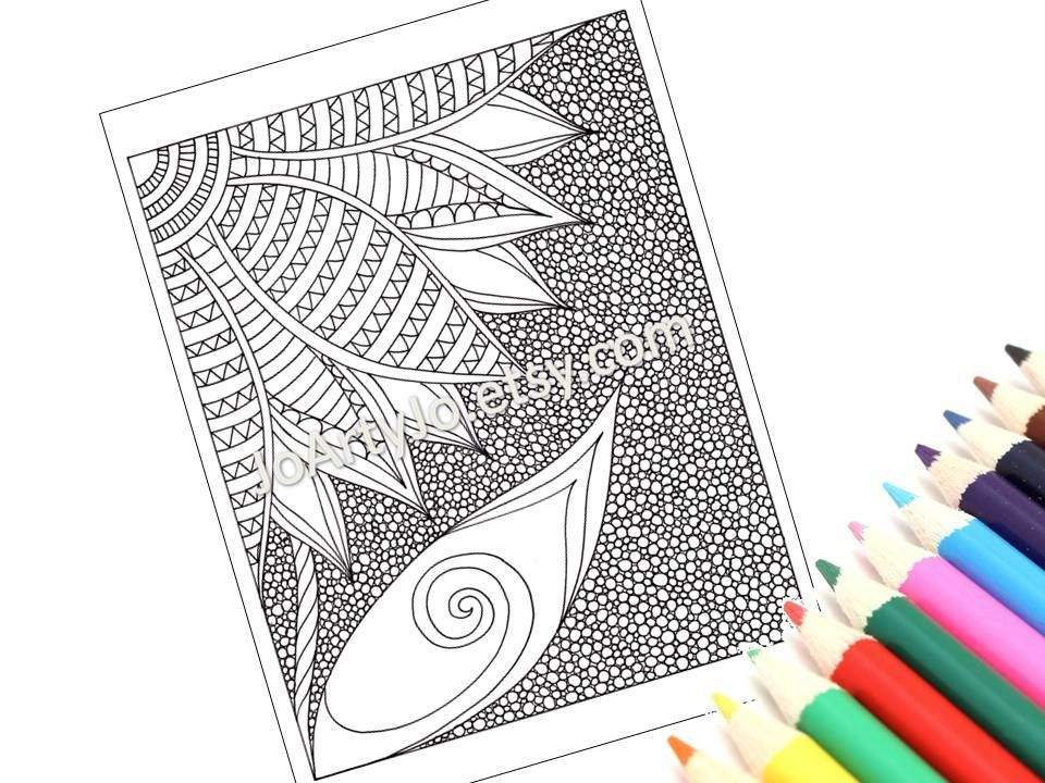 PDF Coloring Page Printable, Zentangle Inspired, Zendoodle Flower, Page 42. $2.00, via Etsy.