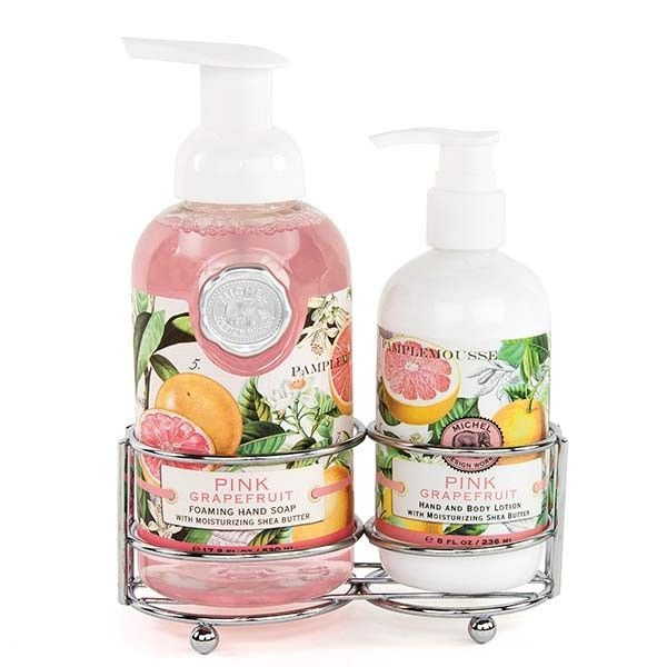 Pink Grapefruit Soap And Lotion Caddy Pink Grapefruit Hand Care