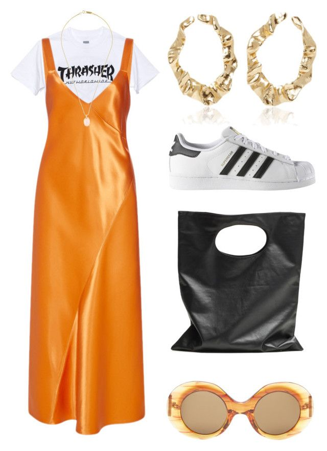 """Orange Is the New Black"" by fashionwonderer ❤ liked on Polyvore featuring HUF, TIBI, Isabel Marant, Oscar de la Renta, adidas, Cheap Monday and The Row"