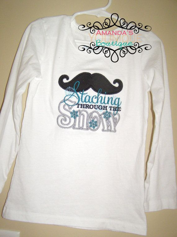 Staching Mustach Through The Snow Embroidered Shirt by AYBoutique, $22.00