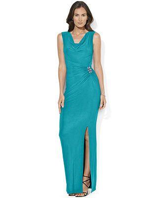 4d3ddac463a Lauren Ralph Lauren Sleeveless Cowl-Neck Jersey Gown