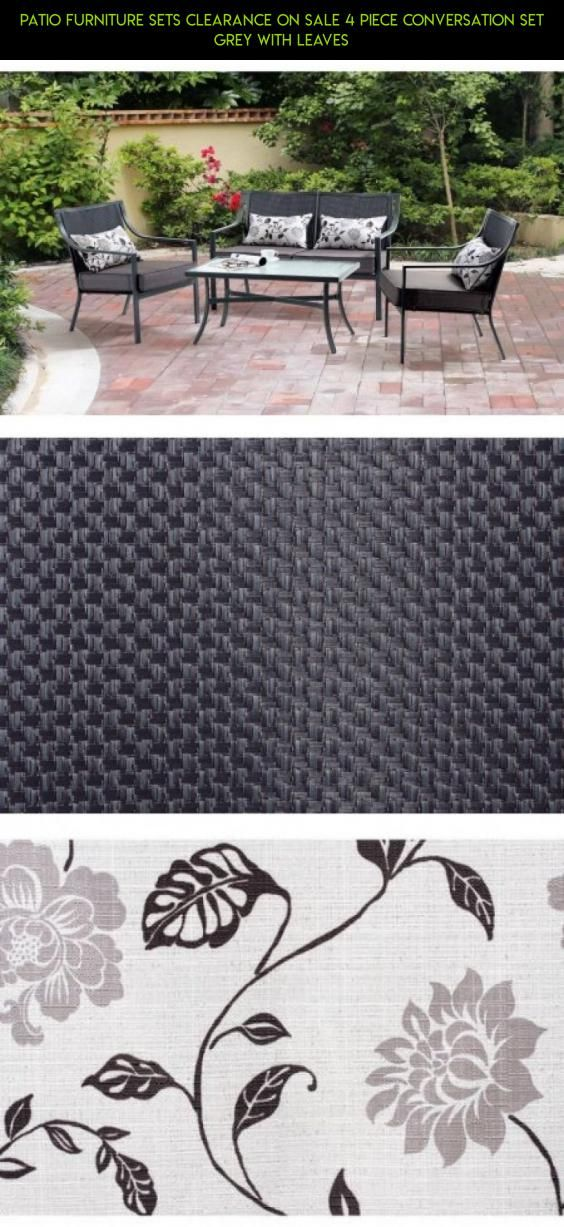Patio Furniture Sets Clearance On Sale 4 Piece Conversation Set Grey With  Leaves #shopping #