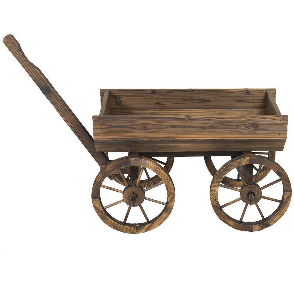 Garden wood wheelbarrow rustic yard wagon flower planter lawn decoration pot new outdoordecor