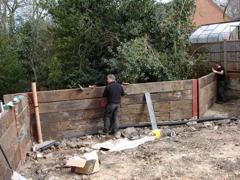Railway Sleepers Slotted Into Rsjs Or Steel H Or I Beams In 2020 Railway Sleepers Landscaping Retaining Walls Backyard Shade
