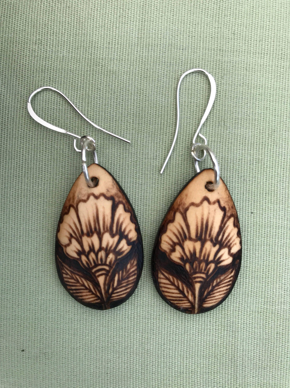 wood earrings handmade wood burned earrings hibiscus teardrop earrings