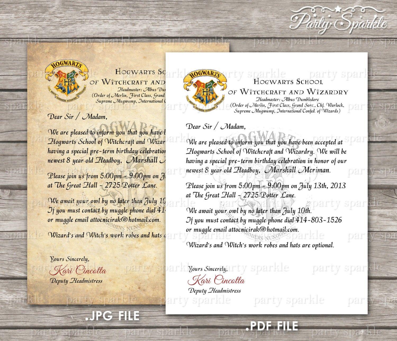 hogwarts acceptance letter party
