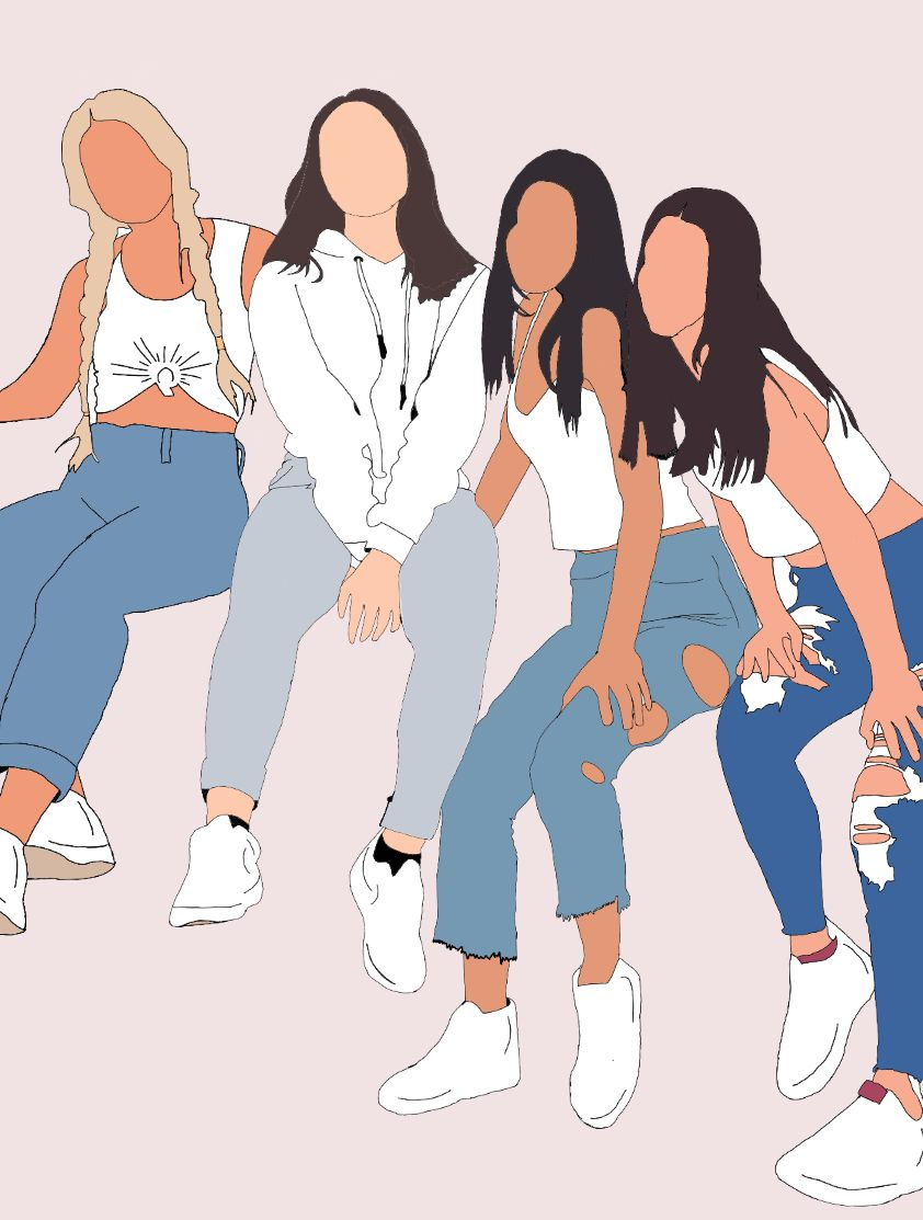The Hype House Girls Woman Illustration Aesthetic Iphone Wallpaper Illustration