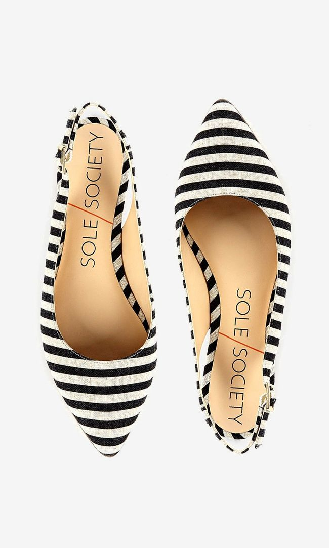 Darling black & white striped slingback flat