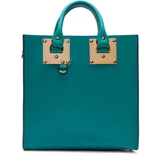 Sophie Hulme Teal Mini Albion Square Tote Bag ($770) ❤ liked on Polyvore featuring bags, handbags, tote bags, purses, сумки, jewel green, leather tote, structured leather tote, purse tote and blue leather tote