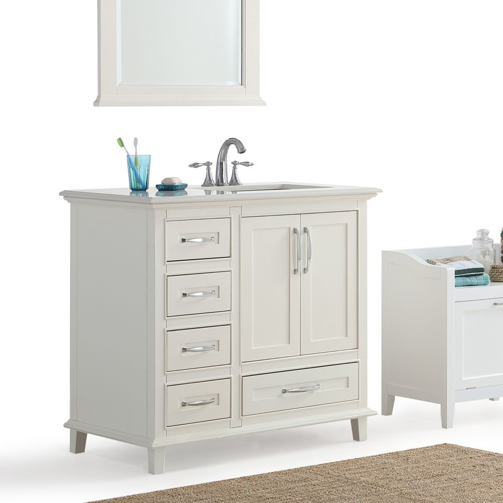Ariana 36 Inch 2 Door 5 Drawer Bath Vanity In White With Bombay