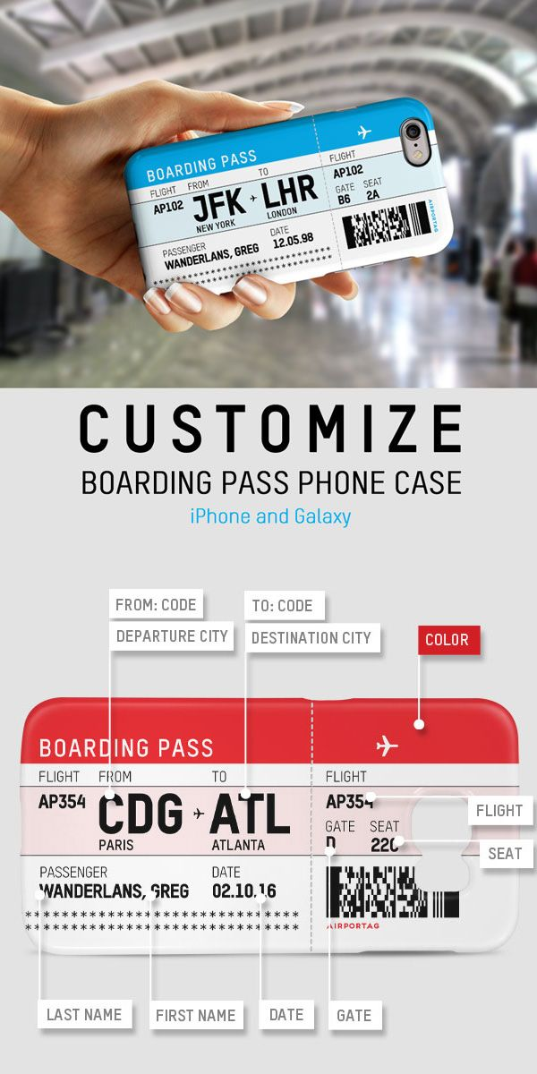 Boarding Pass Phone Case : boarding, phone, Persolanize, Boarding, Phone, Case!, Galaxy, IPhone, Cases,, Iphone, Traveling, Yourself