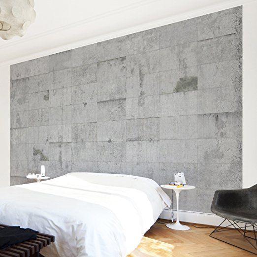 Fototapete Betontapete Beton Ziegeloptik - Vliestapete PREMIUM - graue wand und stein