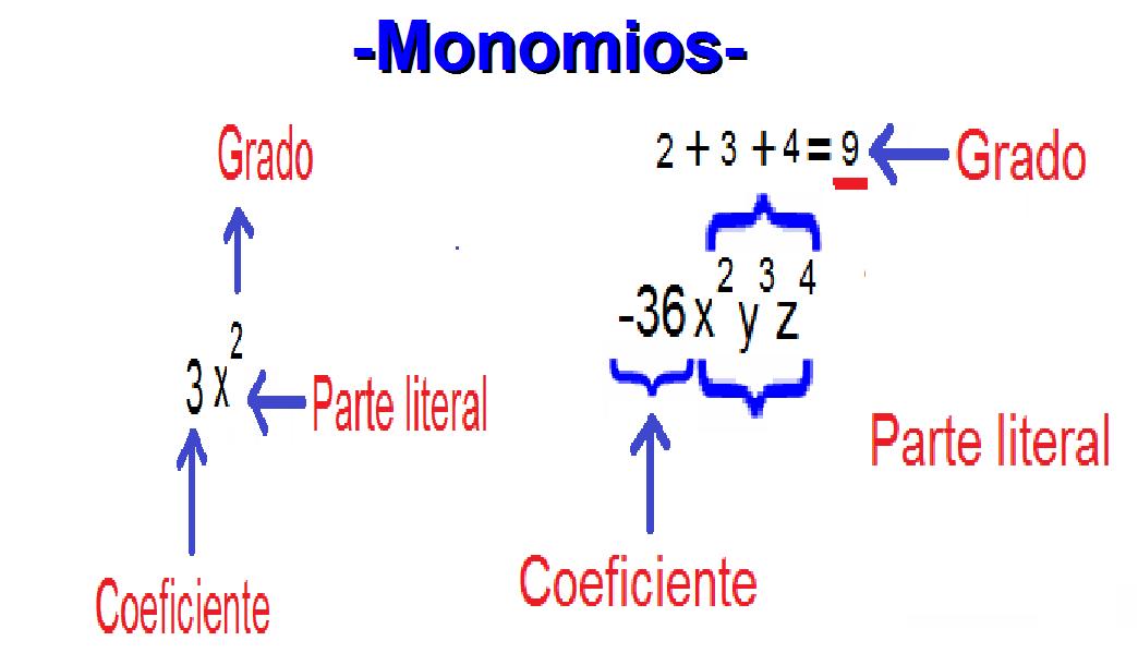Un Monomio Es Una Expresion Algebraica Que Contiene Un Coeficiente Que Es El Numero Que Aparece Multiplicando Las V Aulas De Matematica Matematica Como Estudar