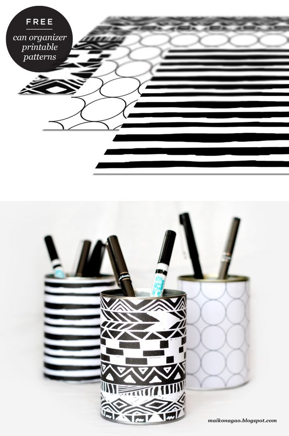 Maiko Nagao: DIY: Organizer cans & free printable wrappers by Maiko Nagao